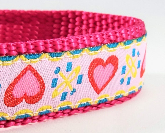 Pink Hearts Dog Collar / Adjustable / Small Dog Collar / Girl Dog collar / Pink / Pink Hearts / Love / Dog Collars