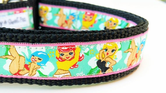 The Pin Up Puppy - Dog Collar / Pet Accessories / Handmade / Pet Lover Gift / Large Dog Collar / Adjustable / Dog Collar