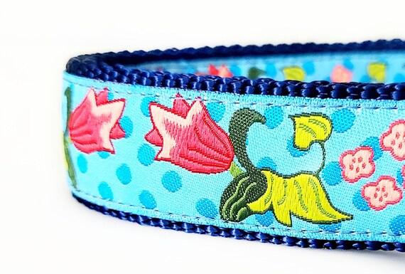 Blooms Dog Collar / Adjustable / Flowers / Large Dog Collar / Flower Dog Collar / Dog Collars / Dots