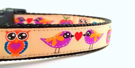 Lovebirds - Dog Collar / Adjustable / Small Dog Collar / Large Dog Collar / Birds / Owls / Apples / Woodland / Dog Collars