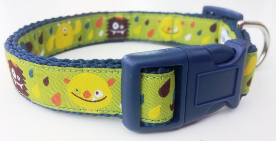 Silly Monsters - Dog Collar / Handmade / Pet Accessories / Adjustable / Mustache Monster