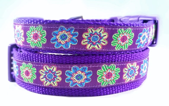 Purple Blooms Dog Collar / Adjustable / Large Dog Collar / Small Dog Collar / Flowers / Purple / Dog Lover / Dog Collars