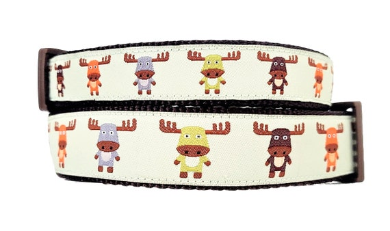 The Modern Moose - Dog Collar / Handmade / Pet Accessories / Adjustable / Moose / Small Dog Collar / Large Dog Collar / Puppy Dog Collar