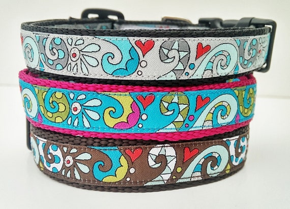 Modern Swirls Dog Collar / Handmade / Adjustable / Pet Accessories