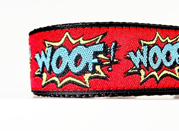 Woof - Dog Collar / Adjustable / Large Dog Collar / Dog Collars / Super Dog / Comic