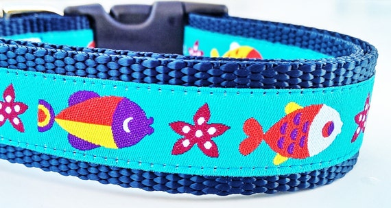 Here Fishy Fishy - Dog Collar / Adjustable / Pet Accessories / Handmade / Goft Idea / Pet Lover
