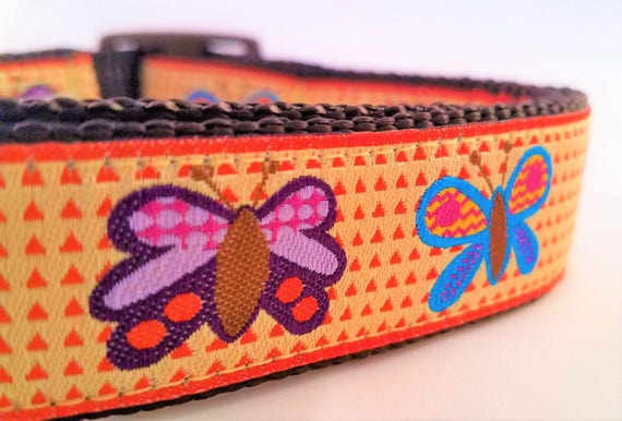Butterflies - Dog Collar / Handmade / Adjustable / Martingale / Pet Accessories / Large Dog Collar / Pet Lover / Dog Collars