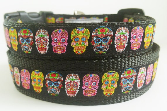 Dias de los Mutt-os - Dog Collar / Handmade / Adjustable / Pet Accessories / Sugar Skulls / Day of the Dead