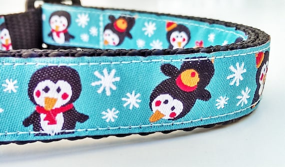 Happy Penguins - Dog Collar / Handmade / Adjustable / Pet Lover / Gift Idea / Holiday / Pet Accessories