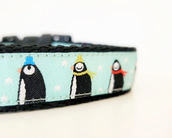 Chilly Dog Collar / Handmade / Penguins / Winter / March / Cold / Small Dog Collar / Large Dog Collar / Collars / Penguin / Bird / Stars