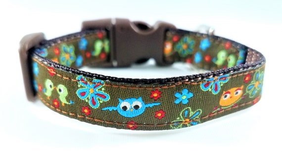 Tiny Birds - Dog Collar / Teacup Dog Collar / Small Dog Collar / Forest / Birds / Small Dog Collar / Flowers / Owls / Woodland