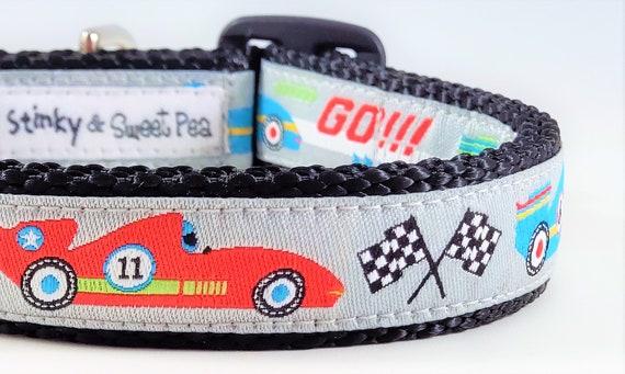 Speedster Dog Collar / Adjustable / Buckle / Cars / Fast / Go / Speedy / Sports Car / Small Dog Collar / Large Dog Collar / Car Race