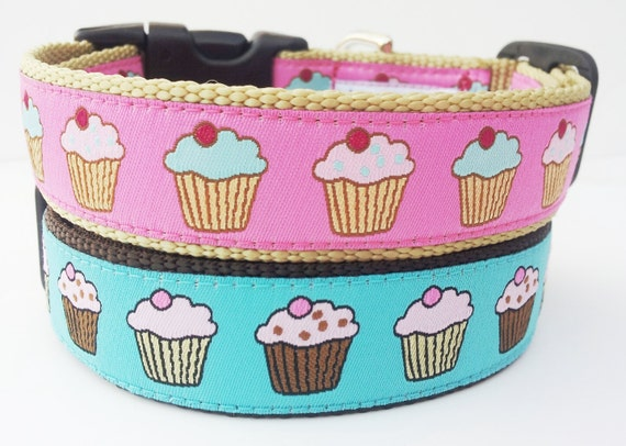 The Pupcake - Dog Collar / Pet Accessories / Handmade / Adjustable / Cupcake / Large Dog Collar / Gift Idea