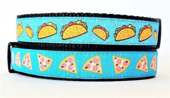 Pizza and Tacos Dog Collar - Adjustable / Dog Collar / Small Dog Collar / Large Collar / Pizza / Tacos / Pet Collar