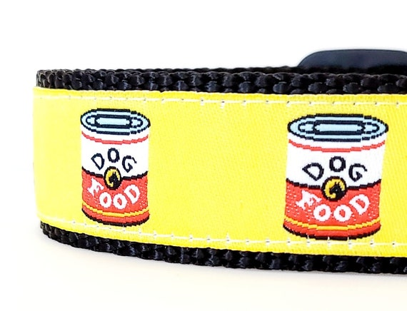 Pup Art Dog Collar / Adjustable / Large Collar / Dog Food Cans / Andy Warhol / Pop Art / Funny Dog Collar / Food Dog Collar / Yellow