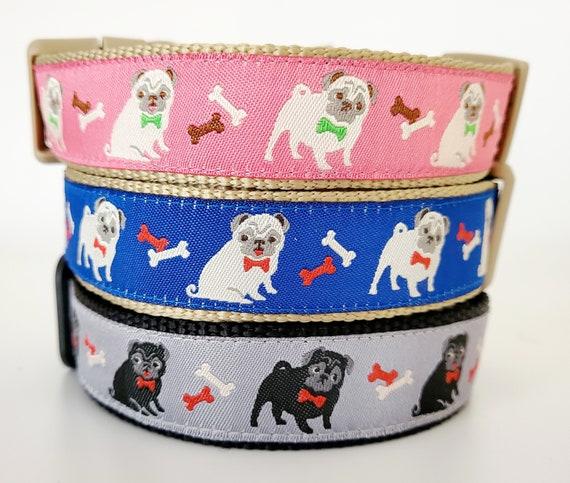 Pugs Dog Collar / Handmade / Adjustable / Pug / Dogs / Pet Collar / Fawn Pug / Black Pug / dog bow tie / pug life / Puggle / Bulldog