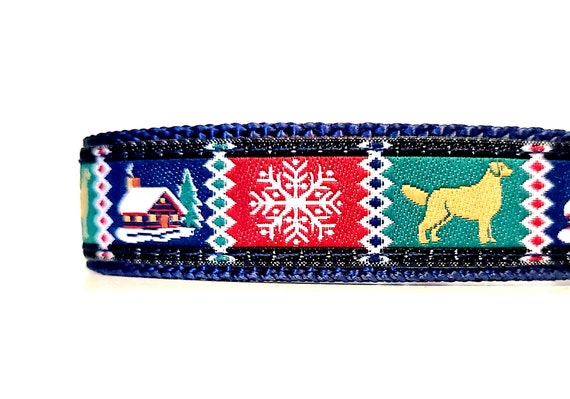 Cozy Cabin - Dog Collar / Adjustable / Snowflake / Small Dog Collar / Teacup / Puppy / Cottage / Holidays / Winter / Woodland / Nordic