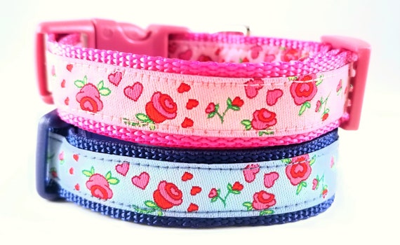 Tiny Roses Dog Collar / Teacup Dog Collar / Flowers / Small Dog Collar / Dog Collars / Roses / Hearts / Mini / Love
