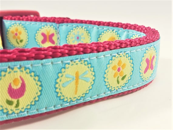 Springtime Dog Collar / Adjustable / Small Dog Collar / Large Dog Collar / Butterflies / Flowers / Dragonfly / Spring / Summer / Garden