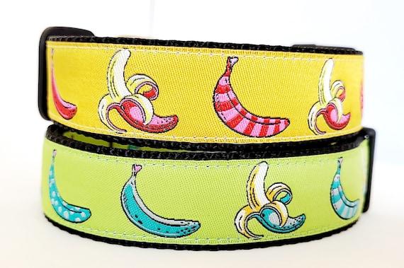 Going Bananas - Dog Collar / Adjustable / Large Dog Collar / Bananas / Silly / Dog Collar / Unique Dog Collar / Funny / Food / Fruit
