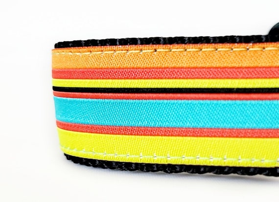Cheery Striped Dog Collar / Adjustable / Large Dog collar / Stripes / Modern / Extra Large Dog Collar / Dog Collars