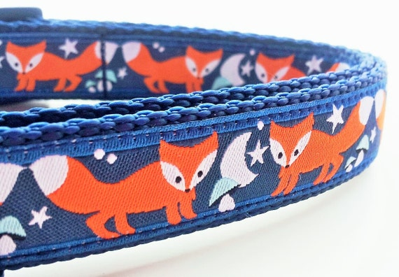 What Does the Fox Say  Dog Collar / Pet Accessories / Handmade /  Adjustable / Fox / Small Dog Collar / Moon / Night