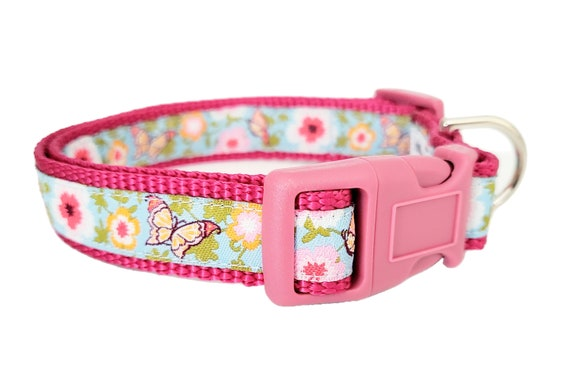 Summertime Dog Collar / Small Dog Collar / Butterflies / Teacup / Mini Dog Collar / Puppy Dog Collar / Flowers / Summer / Dog Collars