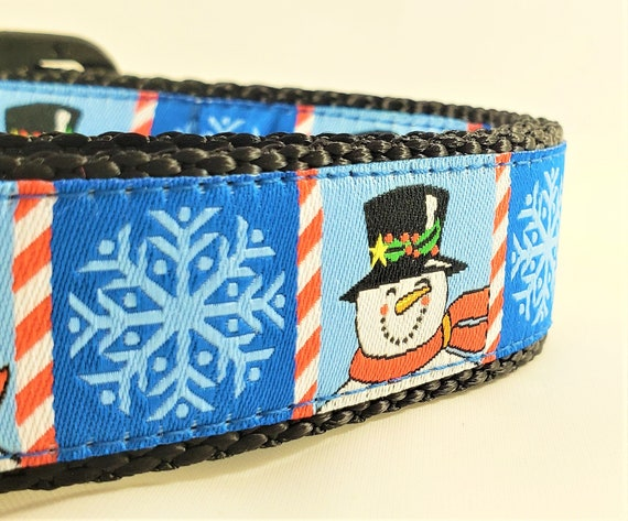 Happy Snowman - Dog Collar / Adjustable / Pet Accessories / Christmas / Large Dog collar / Snowflakes / Candy Cane / Frosty the Snowman