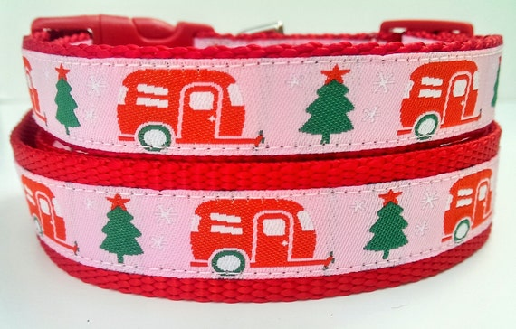 Happy Camper Pink Winter Edition Dog Collar / Pet Accessories / Christmas / Handmade / Adjustable / Airstream / Pet Lover / Gift Idea