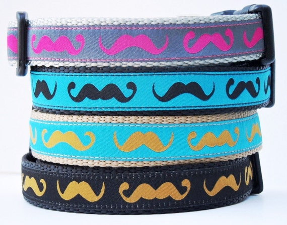 The Hipster Mustache Dog Collar / Adjustable / Pet Accessories / Handmade / Handlebar Mustache / Collars