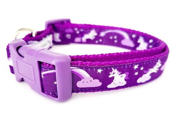 Purple Unicorn  - Dog Collar / Adjustable / Small Dog Collar / Large Dog Collar / Unicorn / Pony / Rainbow / Mythical / Dog Collars