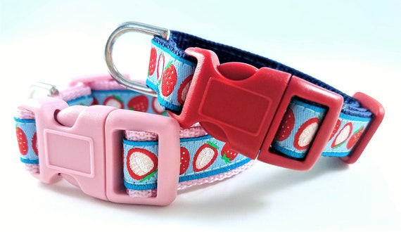 Dog Collar Strawberries / Dog Collar / Puppy / Pet Accessory / Adjustable / Tiny / Small Dog Collar / Teacup / Mini