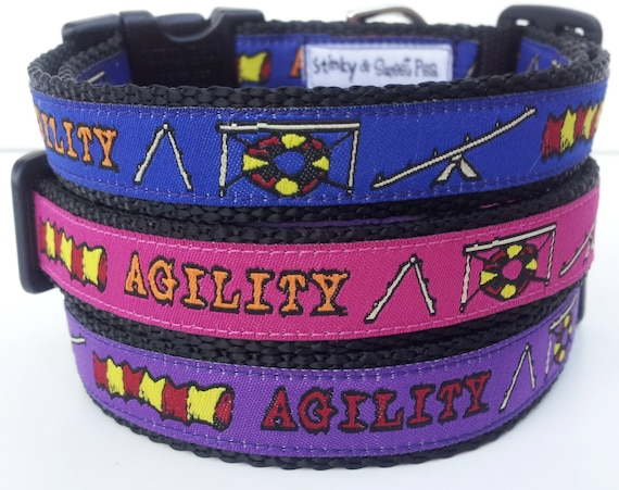Agility Dog Collar /  Handmade / Pet Accessories / Adjustable / Small Dog Collar / Large Dog Collar / Agile Dog