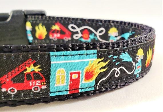 Hero Dog Collar / Adjustable / Fireman / firetruck / hose / hero / hero dog / large dog collar / small dog collar / fire hydrant