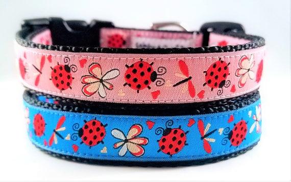 Little Ladybug Dog Collar / Handmade / Adjustable / Ladybugs / Dragonfly / Small dog collar / Dog collar / Pet Lover / Large Dog collar