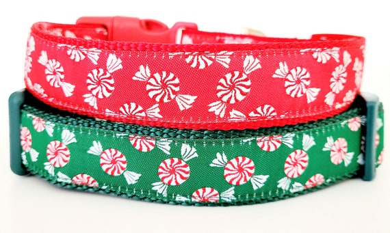 Peppermint Pooch Dog Collar / Candy Cane / Adjustable/ Christmas / Holiday / Large Dog Collar / Pet Collars / Candies / Peppermint / Sweets