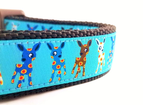 Spotted Little Deer - Dog Collar / Handmade / Pet Accessories / Adjustable / Deer / Large Dog Collar / Dog Lover / Flowers / Woodland