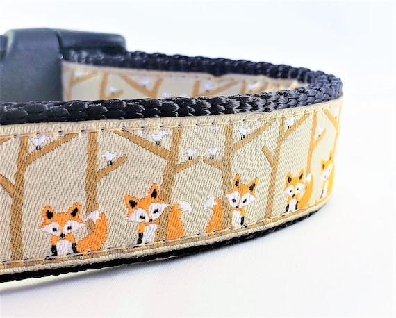 Orange Fox Dog Collar / Adjustable / Large Dog Collar / Fox / Handmade / Dog Collar / Woodland