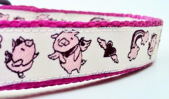 Hog Heaven - Dog Collar / Handmade / Pet Accessories / Adjustable / When Pigs Fly / Hearts / Wings / Rainbow