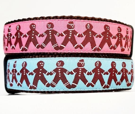 Gingerbread Man Dog Collar / Large Dog Collar / Christmas / Holiday / Seasonal / Cookies / Treats / Dog Collar / Handmade / Adjustable