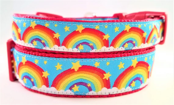 Rainbow Dog Collar, Handmade, Adjustable, Martingale, Side Release Buckle, Large Dog collar, Small Dog Collar, Pet Lover, Pride