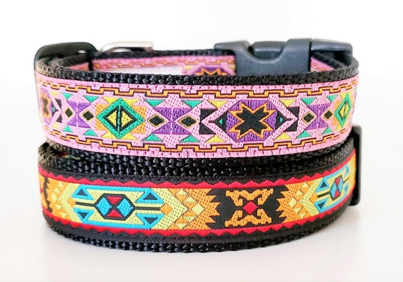 Nomad Tribal Dog Collar / Adjustable / Pattern / Southwest / Aztec / Spirit Animal / Native / Primitive / Geometric / Navajo / Dog Collars
