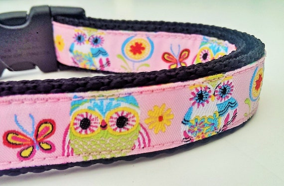 Pretty Owls - Dog Collar / Handmade / Pet Accessories / Adjustable / Dog Collar / Owl Dog Collar / Pink Dog Collar