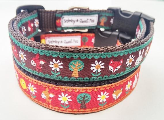 The Fox in the Forest  Dog Collar / Adjustable / Pet Accessories / Handmade / Fox / Deer