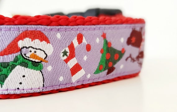 Snowman Dog Collar / Adjustable / Pet Accessories / Handmade / Gift Idea / Pet Lover / Christmas / Seasonal / Holiday / Winter