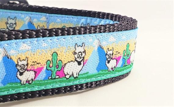 Llama - Dog Collar / Adjustable / Handmade / Large Dog Collar / Cactus / Desert / Mountains / Dog Collars / Pet Collars / Alpaca