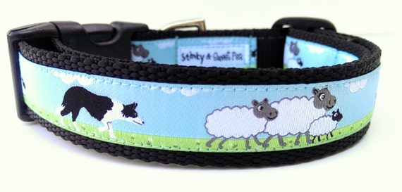 Border Collie Dog Collar / Handmade / Pet Accessories / Adjustable / Herding / Pet Lover / Gift Idea / Sheep / Large Dog Collar