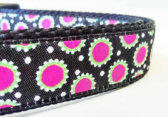 Modern Daisies - Dog Collar / Adjustable / Handmade / Pet Accessories