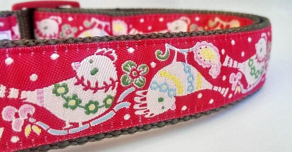 Holiday Birds Dog Collar / Handmade / Pet Accessories / Adjustable / Christmas