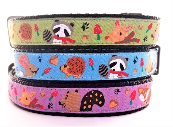 Mr Fox and Friends Dog Collar / Handmade / Pet Accessories / Adjustable / Hedgehog / Raccoon / Rabbit / Fox / Dog Collar / Deer